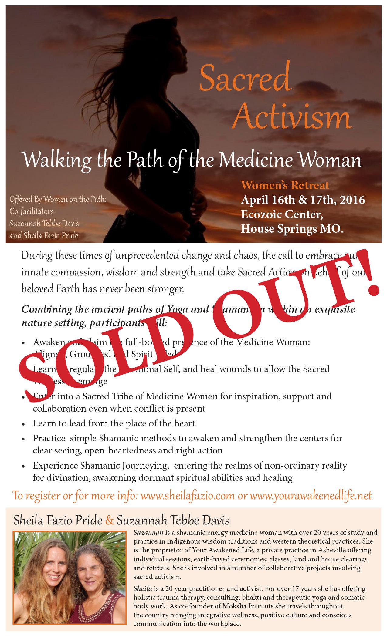 Sacred Activism workshop Sold Out