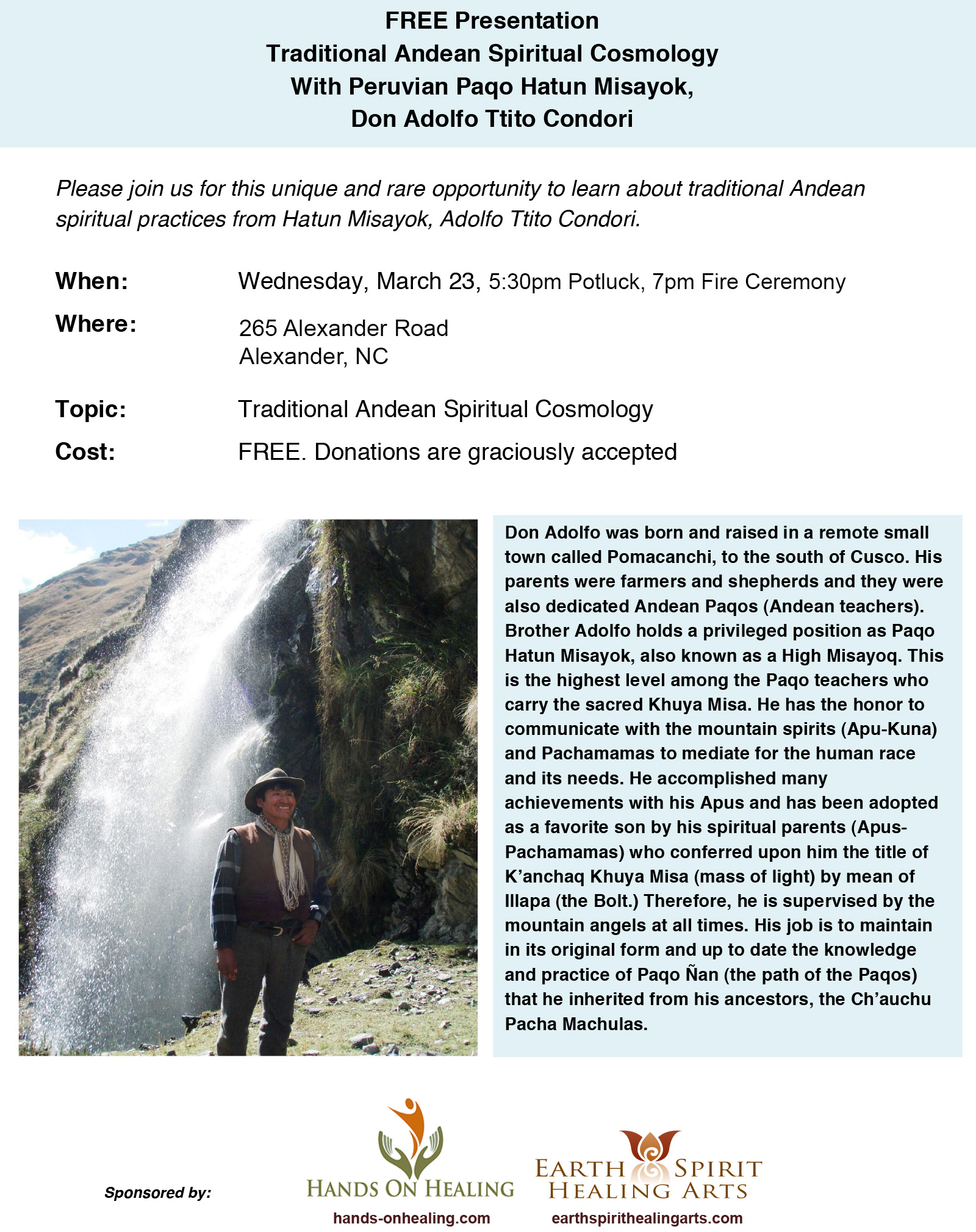 flyer for don Adolfo talk and fire ceremony